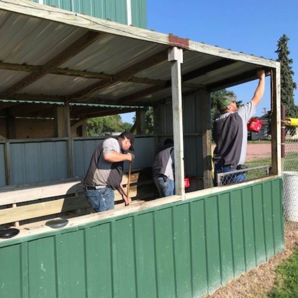 C & B Corsica also helped stain/seal the dugout and crows nest at the local baseball field.