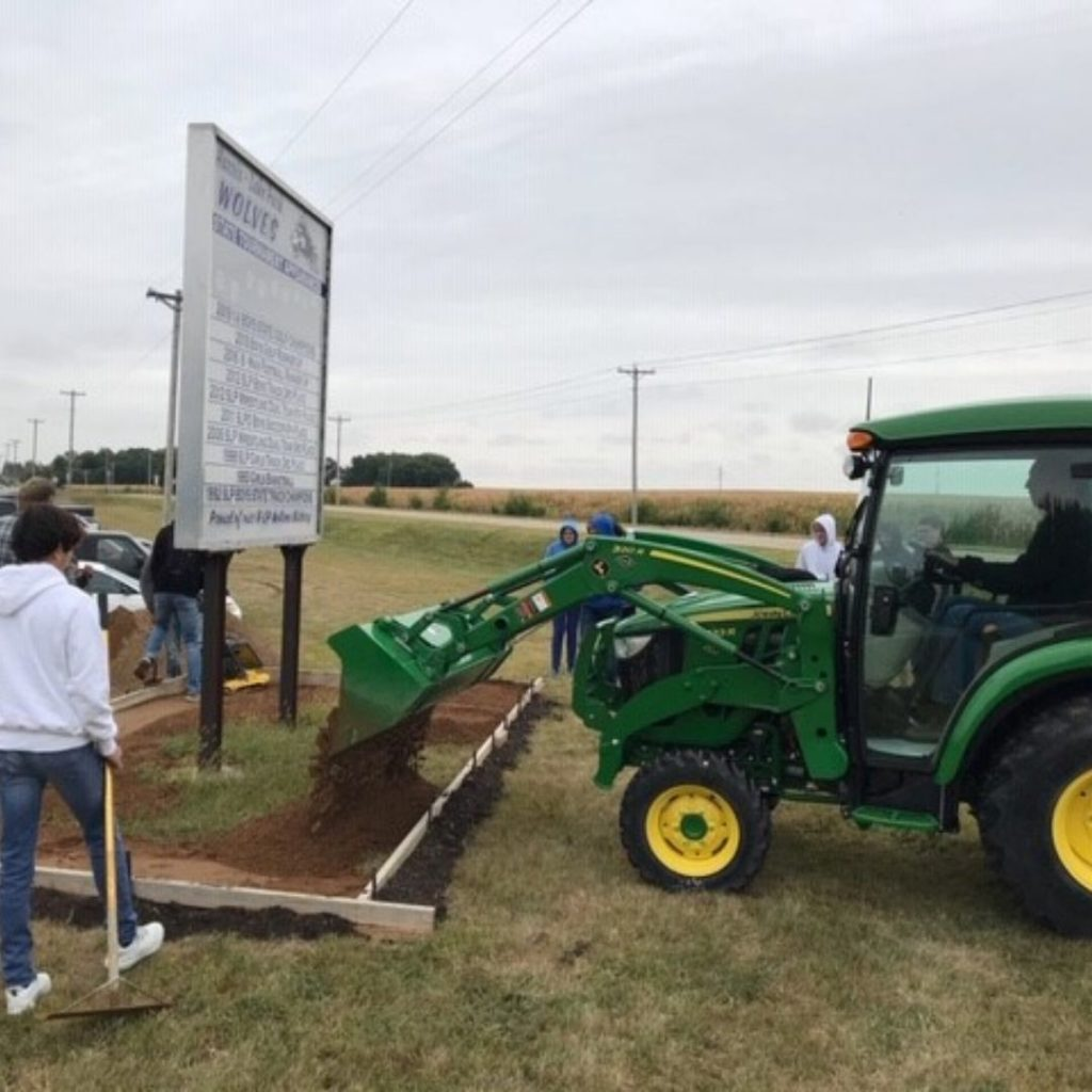 C & B Lake Park chose to help the Horticulture Class and the Lake Park Boosters install the landscaping around the achievements sign at the school.