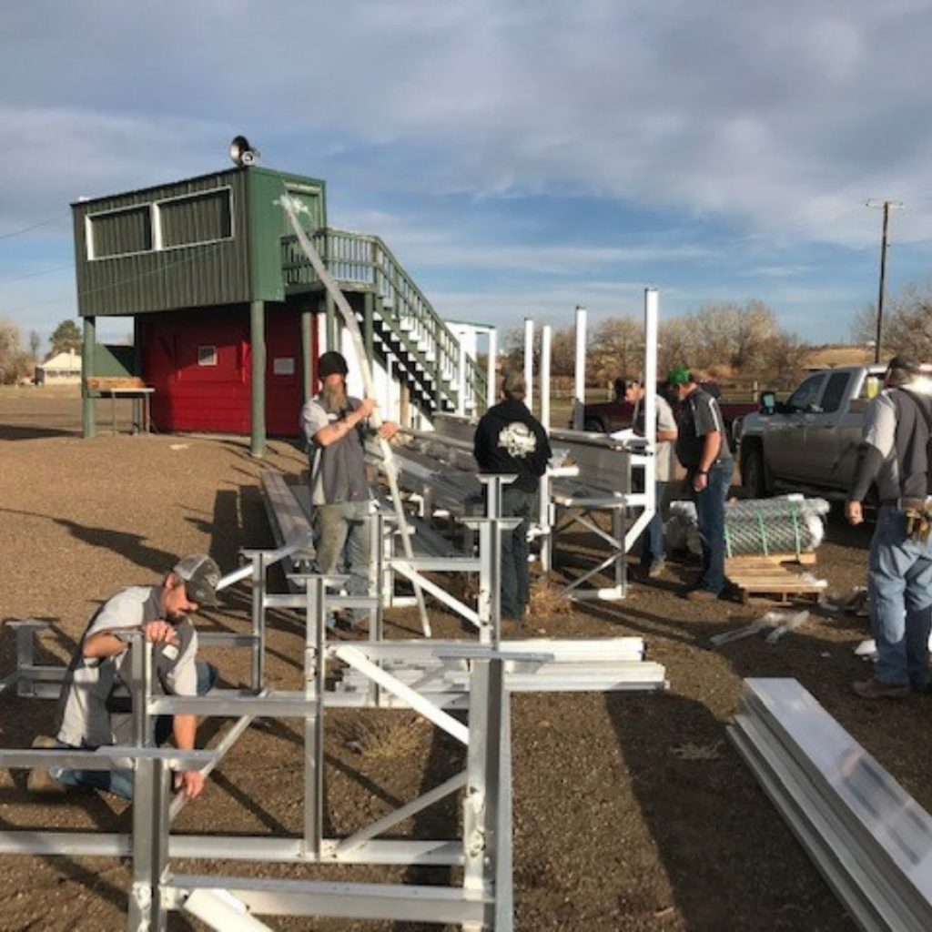 C & B Glasgow put together three sets of bleachers for the Glasgow Red's baseball team.