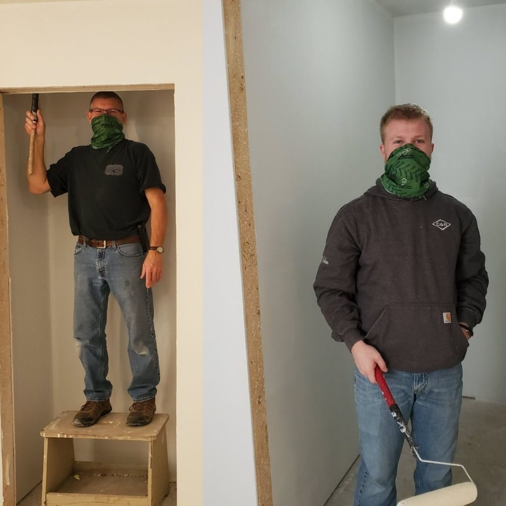 C & B Mitchell chose to help Habitat for Humanity, they did some priming, painting, and are going back to help with trim and doors.