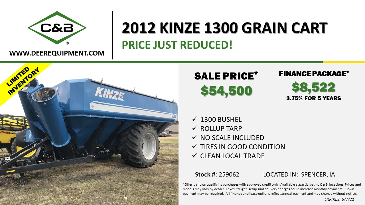2012 KINZE 1300 GRAIN CART – 259062