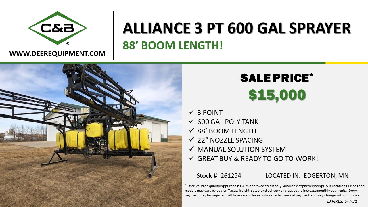 ALLIANCE 3 PT 600 GAL SPRAYER – 261254
