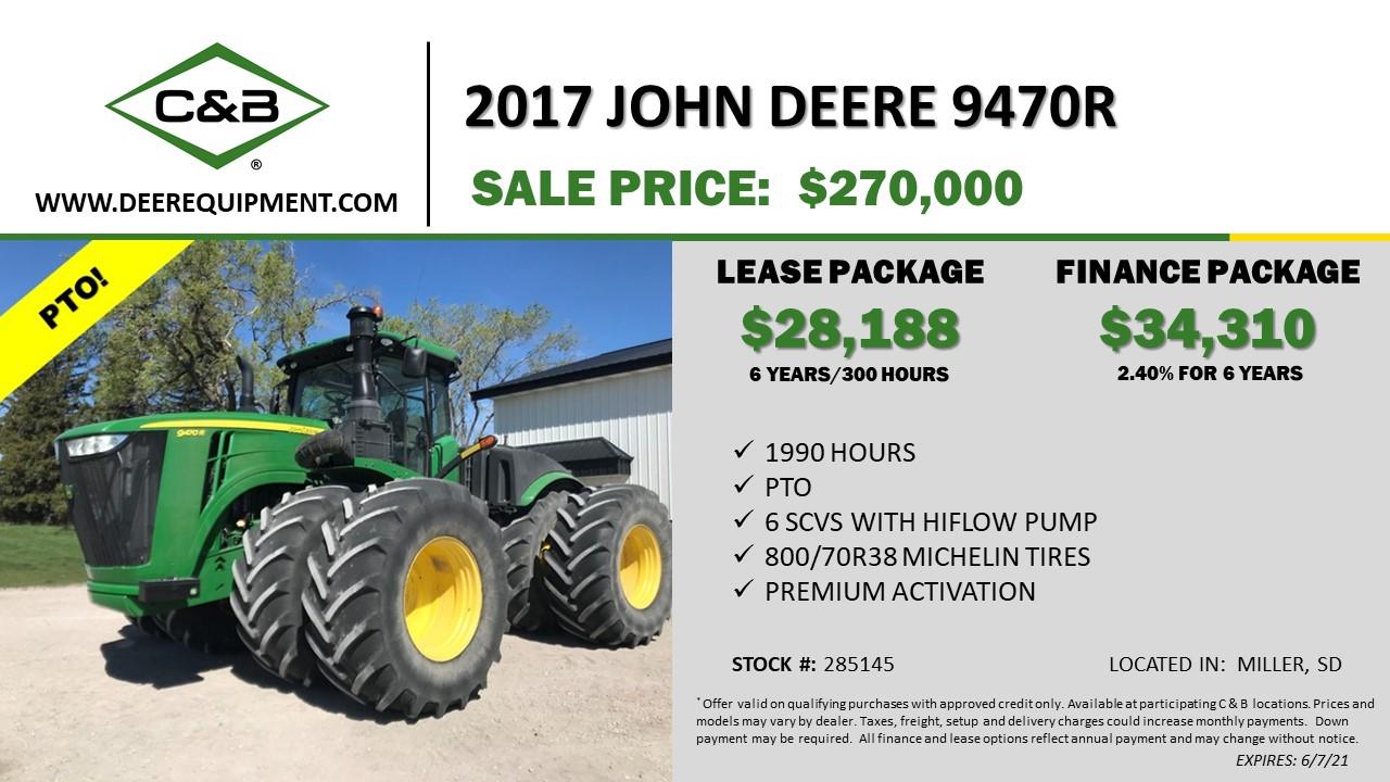 2017 JOHN DEERE 9470R – 285145