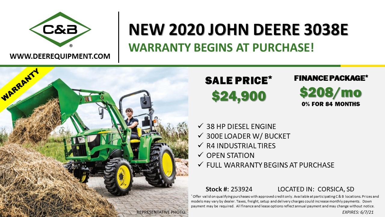 NEW 2020 JOHN DEERE 3038E – 253924