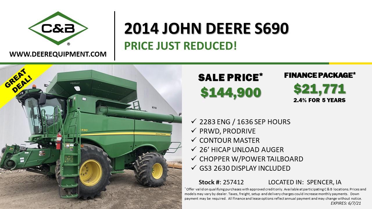 2014 JOHN DEERE S690 – 257412