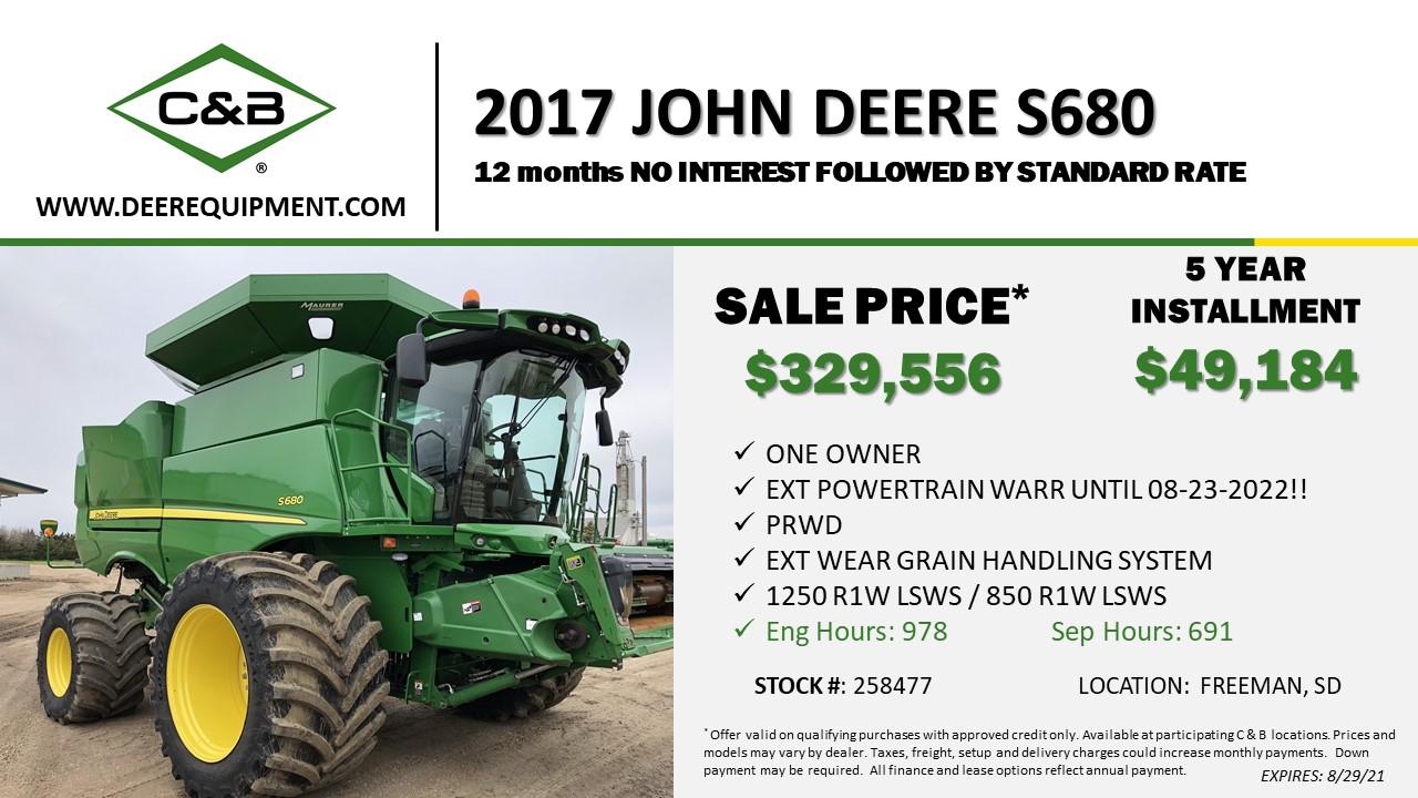 2017 John Deere S680 – 258477