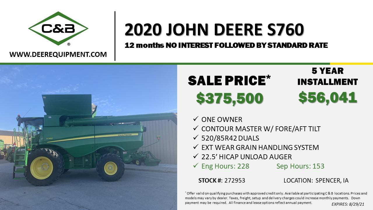 2020 John Deere S760 – 272953
