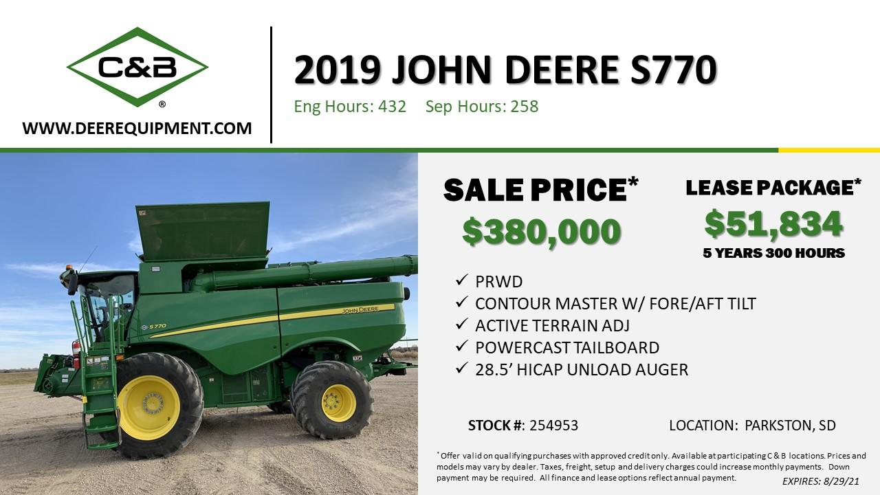 2019 John Deere S770 – 254953
