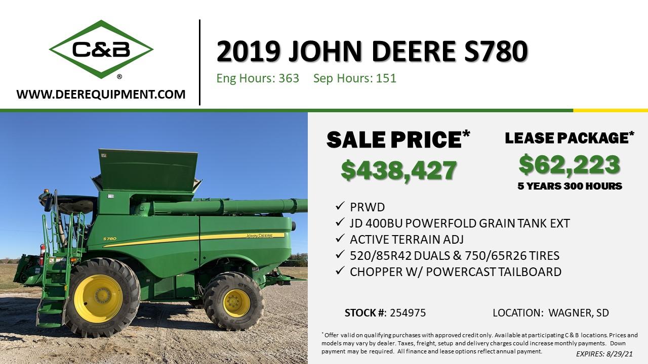 2019 John Deere S780 – 254975